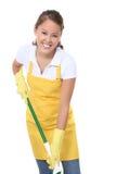 Empregada doméstica bonito com espanador Fotos de Stock Royalty Free