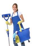 Empregada doméstica bonito da mulher com espanador Imagem de Stock Royalty Free