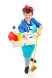 Empregada doméstica com produtos de limpeza Imagens de Stock