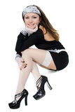 Empregada doméstica nova de sorriso 'sexy' Fotografia de Stock Royalty Free