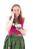 Empregada doméstica que disca seu amigo Imagens de Stock Royalty Free
