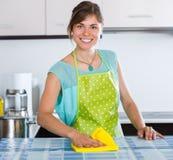 Empregada doméstica que faz a limpeza profissional Imagens de Stock Royalty Free