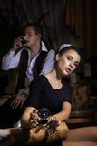 Empregada doméstica 'sexy' com vidro do vinho Imagens de Stock