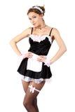 Empregada doméstica 'sexy' do francês das mulheres novas. Imagem de Stock