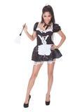 Empregada doméstica 'sexy' no uniforme skimpy Fotografia de Stock