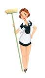 Empregada doméstica bonita com espanador Imagem de Stock