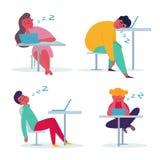 Empregado cansado que dorme no escrit?rio ilustração royalty free