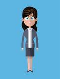 Empregado cinzento do terno do negócio da mulher dos desenhos animados ilustração do vetor