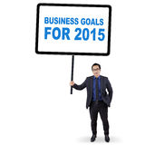 Empregado com objetivos de negócios para 2015 Imagem de Stock
