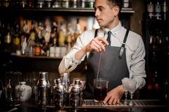 Empregado de bar novo que agita o cocktail alcoólico do verão fresco no vidro imagens de stock royalty free