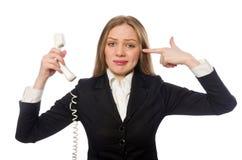 Empregado de escritório bonito que mantém o telefone isolado sobre Imagens de Stock
