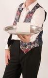 Empregado de mesa com bandeja 1 Imagens de Stock Royalty Free