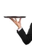 Empregado de mesa com bandeja Imagens de Stock Royalty Free