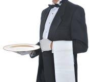 Empregado de mesa com bandeja Imagem de Stock Royalty Free