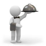 Empregado de mesa com bandeja do alimento Imagem de Stock