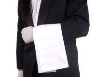 Empregado de mesa com toalha Fotografia de Stock Royalty Free