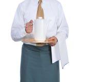 Empregado de mesa com Urn de café imagem de stock royalty free