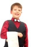 Empregado de mesa do menino no vermelho Imagens de Stock