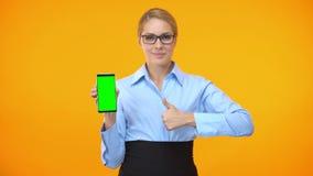 Empregado do sexo feminino da empresa que mostra os polegares acima de guardar o smartphone com tela verde filme