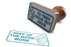 Empregado ou estudante Motivation Prossiga o bom trabalho, grande trabalho Fotos de Stock Royalty Free
