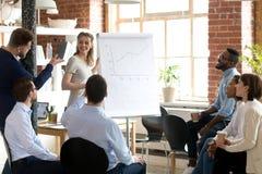 Empregado que faz perguntas ao treinador fêmea do negócio, orador imagem de stock royalty free