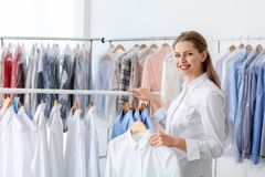 Empregado que trabalha no ` s do seco-líquido de limpeza fotos de stock