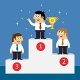 Empregados da vida empresarial no pódio dos vencedores Fotografia de Stock