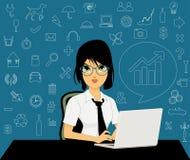 Empregados do sexo feminino com ícones Foto de Stock Royalty Free