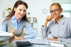 Empregados felizes fotografia de stock