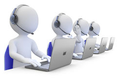 Empregados que trabalham em um centro de chamadas Imagens de Stock Royalty Free