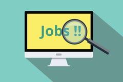 Emprego on-line da busca e do achado Fotografia de Stock