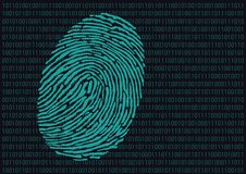 Fingerprint and computer code symbol found on a crime scene to identify a suspect vector illustration