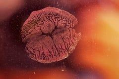Empreinte de baiser de rouge à lèvres, amour Images stock