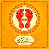 Empreinte de pas de lakshmi de déesse pour des vacances heureuses de festival de Diwali illustration stock