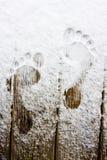 Empreinte de pas sur la neige Photographie stock