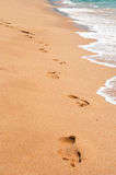 Empreinte de pas sur la plage de sable de mer Photographie stock libre de droits