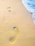 Empreinte de pas sur le sable avec de la mousse Image libre de droits