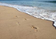 Empreinte de pas sur le sable en plage Photos stock