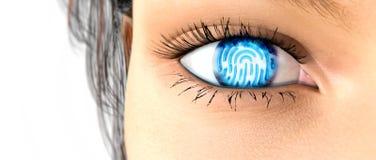 Empreinte digitale de balayage d'oeil d'iris illustration stock