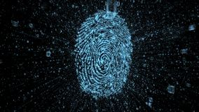 Empreinte digitale de Digital avec des courants des données binaires montrant le concept de la sécurité en ligne illustration stock