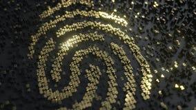 Empreinte digitale faite de nombres d'or L'identité de Digital, les données personnelles ou les médecines légales ont rapporté le Image libre de droits