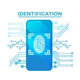 Empreinte digitale futée système de protection moderne d'Access de balayage d'identification de téléphone et de sécurité Photo libre de droits