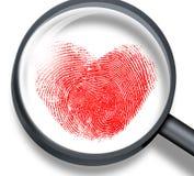 Empreinte digitale rouge dans la forme de coeur Images libres de droits