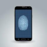 Empreinte digitale sur le smartphone Images libres de droits