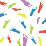 Empreintes de pas colorées Photos libres de droits