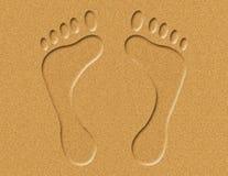 Empreintes de pas dans l'illustration de sable illustration stock