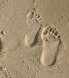 Empreintes de pas dans le sable Photographie stock