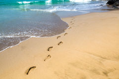 Empreintes de pas dans le sable photos libres de droits