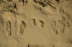 Empreintes de pas de famille dans le sable Image stock