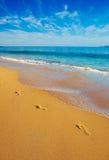 empreintes de pas de plage Images stock